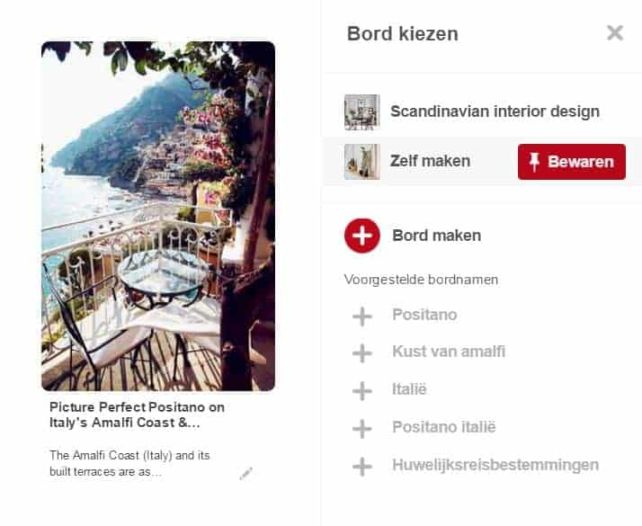 Hoe werkt Pinterest. een pin opslaan in een bord of map om te bewaren en terug te vinden