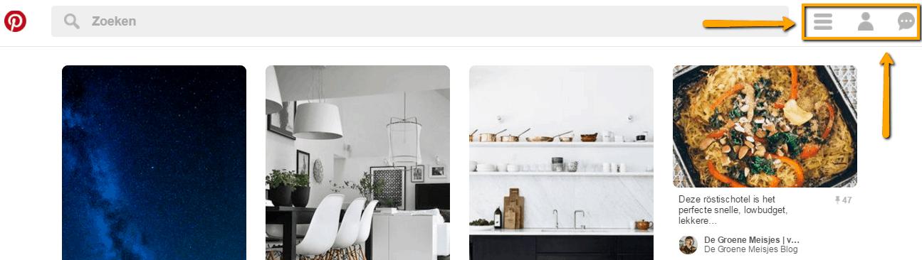 Hoe werkt de startpagina van Pinterest. Hoe bewerk je je profiel